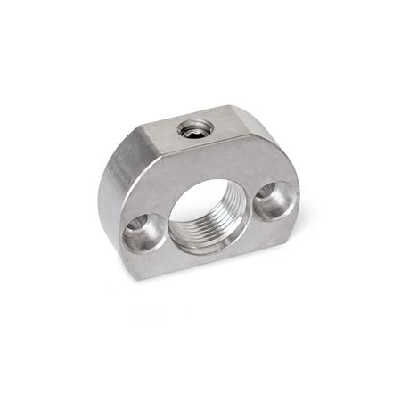 GN 612.1 Bloques de montaje de acero inoxidable, para posicionadores de indexado / posicionadores de indexado por palanca Material: NI - Acero inoxidable Tipo: A - Agujeros de montaje paralelos al posicionador