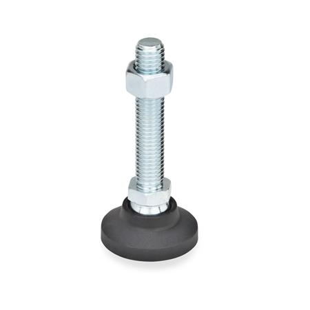 GN 343.4 Steel Stud Type Technopolymer Plastic Base Leveling Mounts, With or Without Rubber Pad Type: A - Without rubber underlay