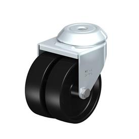 LMDA-POA Steel, Black Nylon Twin Wheeled Swivel Casters with Bolt Hole Mounting, Standard Bracket Series Type: G - Plain Bearing