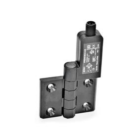 EN 239.4 Technopolymer Plastic Hinges with Integrated Switch, with Connector Plug M12x1 Identification: SR - Bores for contersunk screw, switch right<br />Type: AS - Connector plug at the top