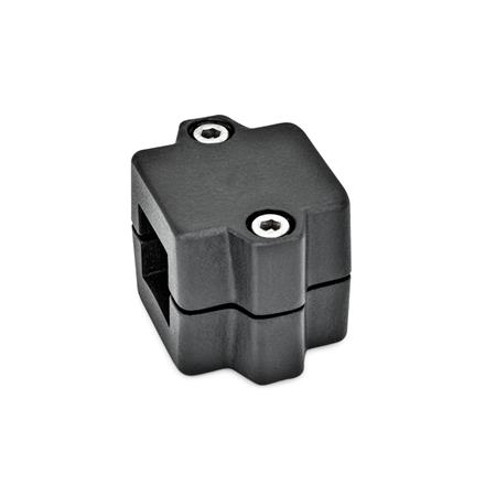 GN 241 Aluminum Split Assembly, Tube Connector Joints Finish: SW - Black, RAL 9005, textured finish Identification No.: 2 - With 2 DIN 912 stainless steel clamping screws