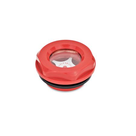 EN 543.2 Plastic Fluid Level Sight Glasses Type: A - with contrast screen Color: RT - Red, RAL 3000