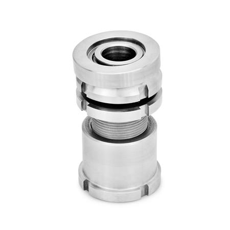 GN 350.5 Stainless Steel Leveling Sets, with Spherical Washer, with Lock Nut Material: NI - Stainless steel