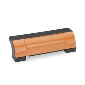EN 630 Jaladeras en «U» de seguridad, cerradas, inclinadas Ergostyle® de plástico tecnopolímero, con agujeros pasantes avellanados Color de la cubierta: DOR - Naranja, RAL 2004, Acabado brillante