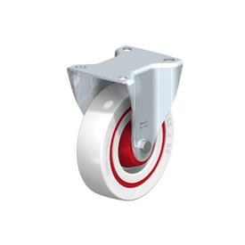 B-POW Steel Noise Absorbing Fixed Casters, with Medium Duty Brackets   Type: R-FK - Roller Bearing with Thread Guard