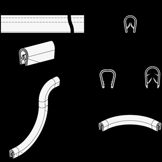 GN 2184 Perfiles para protección de bordes, material PVC boceto