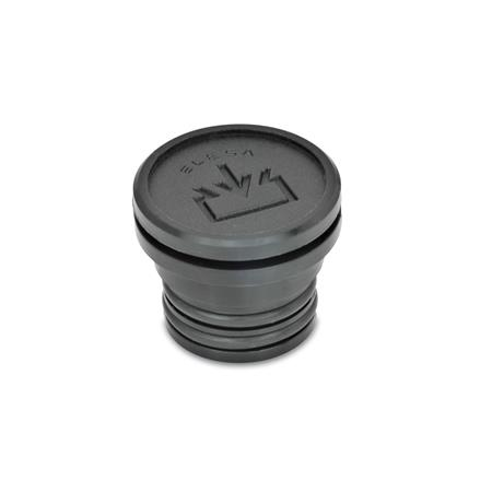 EN 748 Technopolymer Plastic Fluid Fill Plugs, Push-Fit Type, with Fill Symbol, with or without Dipstick Type: A - Without dipstick Identification no.: 1 - Without vent hole