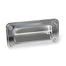 GN 7332 Bandejas de sujeción de acero inoxidable, tipo montaje con tornillos Tipo: A - Montaje por el lado del operador (para identificación núm. 2 con 4 tornillos de sellado avellanado)<br />Identificación núm.: 2 - Con sello<br />Acabado: EP - Electropulido