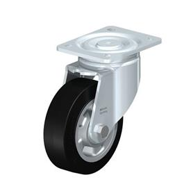 LH-ALEV Rodajas giratorias de acero con rueda de caucho negro de servicio pesado, con placa de montaje, serie de soportes de servicio medio Type: K - Cojinete de bolas