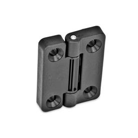 EN 222 Technopolymer Plastic Hinges with 4 Indexing Positions Type: SH - 2x2 bores for countersunk screws