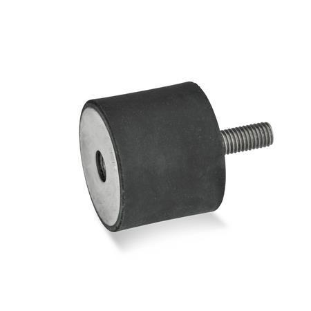 GN 451 Soportes aisladores de vibración, de tipo cilíndrico, con componentes de acero inoxidable Tipo: ES - Con rosca hembra