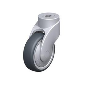 LWG-TPA Rodajas giratorias de nylon plastificado sintético WAVE, con ruedas de caucho termoplástico y ajuste con agujero para perno, componentes de acero Type: K-FK