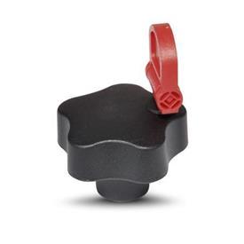 EN 5337.8 Perillas de cinco lóbulos de seguridad de plástico de tecnopolímero, con inserto roscado de latón, con llave Tipo: CSN