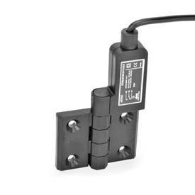 EN 239.4 Bisagras con interruptor integrado de plástico tecnopolímero, con cable conector Identificación: SR - Orificios para tornillo avellanado, interruptor a la derecha<br />Tipo: AK - Cable en la parte superior