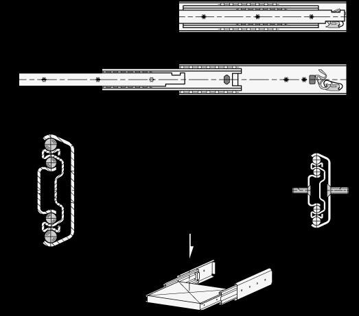 GN 1422 Guías telescópicas de acero, con extensión completa y mecanismo auto-abatible, capacidad de carga de hasta 290 lbf boceto