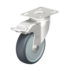 LKPXA-TPA Stainless Steel Light Duty Swivel Casters, with Thermoplastic Rubber Wheels and Heavy Brackets   Type: KD-FI-FK - Ball Bearing Seals with Stop-Fix Brake, with Thread Guard