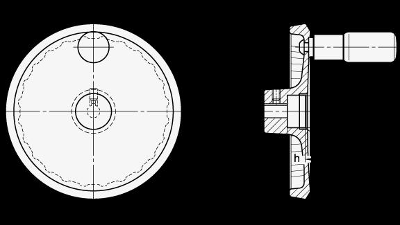 GN 923.30 Volantes de disco sólido de cara plana, de aluminio, para actuadores lineales / unidades de transferencia boceto