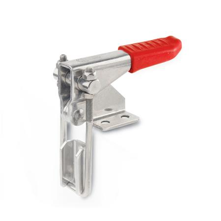 GN 851.1 Stainless Steel Vertical Latch Type Toggle Clamps, with Horizontal Mounting Base Type: T3 - With U-bolt latch, with catch