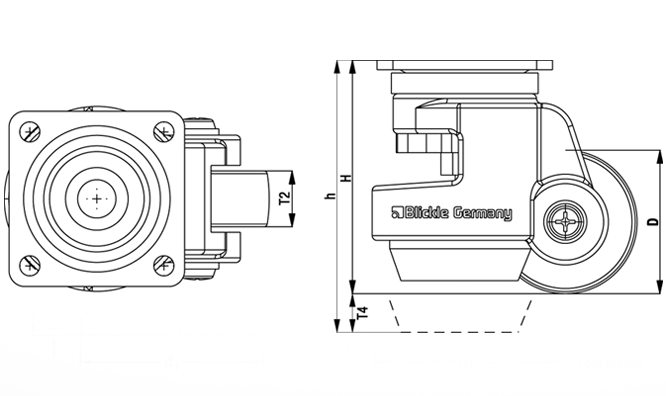 HRSP-POA Steel Heavy Duty Leveling Casters, with integrated truck lock and top plate fitting sketch
