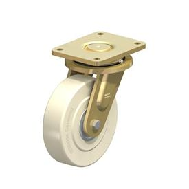 LS-GSPO Rodajas giratorias de acero con rueda de nylon y hierro fundido de servicio pesado, con placa de montaje, serie de construcción soldada Type: K - Cojinete de bolas