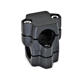 GN 134 Abrazaderas para conectores de dos vías, aluminio, montaje dividido, orificio redondo o cuadrado Orificio d<sub>1</sub>: B 40<br />Acabado: SW - Negro, RAL 9005, acabado texturizado