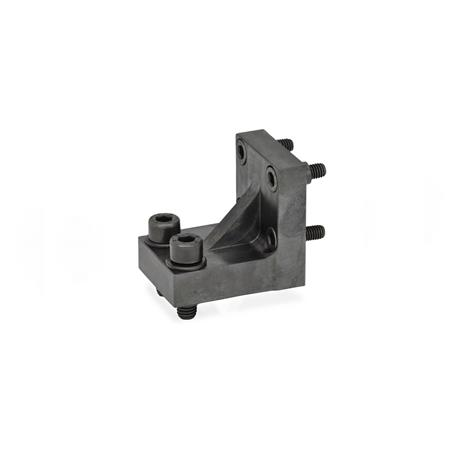 GN 868.1 Steel Gripper Jaw Block Brackets for GN 864 Pneumatic Fastening Clamps Type: R - Jaw blocks at right angle to clamping arm