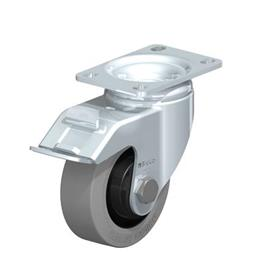 L-POEV Steel Medium Duty Rubber Wheel Swivel Casters, with Plate Mounting Type: K-FI-SG-FK - Ball Bearing with Stop-Fix Brake, with Gray Wheel, with Thread Guard