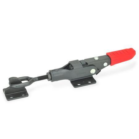 GN 853 Abrazaderas de palanca tipo pestillo de acero, con mecanismo de bloqueo de seguridad Tipo: TG - Con perno de cierre de cabeza ovalada, con soporte de cierre