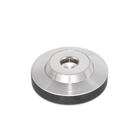 GN 6311.5 Stainless Steel Thrust Pads, for DIN 6332 Grub Screws  Type: KR - With rubber cap, non-skid