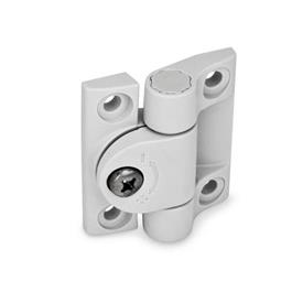 EN 233 Technopolymer Plastic Adjustable Friction Hinges Color: WS - White, RAL 9002, matte finish