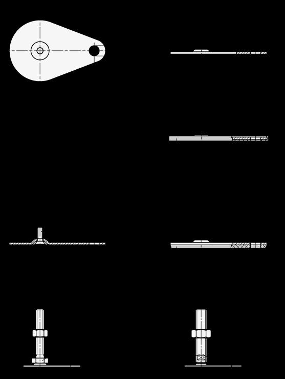 GN 45 Pies de nivelación de acero inoxidable AISI 316 L, con oreja de sujeción y espárrago, lisos o con tapón de caucho o almohadilla de caucho boceto