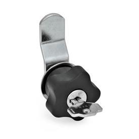 EN 217 Mecanismos de bloqueo para puertas de acero, con perilla de estrella de plástico, con o sin cerradura con llave Tipo: B - Con pestillo de compensación<br />Versión: SR - Bloqueable con giro a la derecha