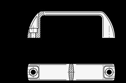 MFE Jaladeras en «U» para gabinete de plástico polipropileno, con agujeros de montaje avellanados boceto