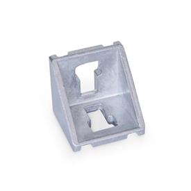 GN 960 Aluminum, Angle Brackets, For 30/40/45 mm Aluminum Profile Systems Type of angle piece: A - without assembly set, without cover<br />Finish: MT - Matte tumbled finish