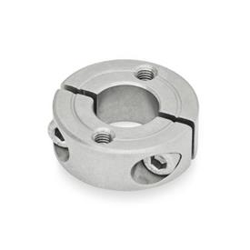GN 7072.2 Collares de fijación partidos de acero inoxidable, con agujeros de montaje Tipo: C - Con dos agujeros roscados