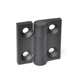 GN 437.3 Zinc Die-Cast Hinges, with Spring-Loaded Return Type: R2 - Spring-loaded return, opening, medium spring force<br />Color: SW - Black, RAL 9005, textured finish