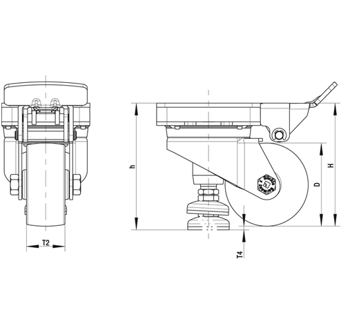 HRLK-ALTH Steel Heavy Duty Extrathane® Treaded Leveling Caster, with Swivel Head, with Plate Mounting sketch