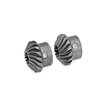 GN 297 Steel Bevel-Gear Wheels, with Spiral Bevel for Linear Actuators / Transfer Units with Angular Gears  Form: W - Set of bevel gears, 2 bevel gears, 1 x right-hand, 1 x left-hand pitch