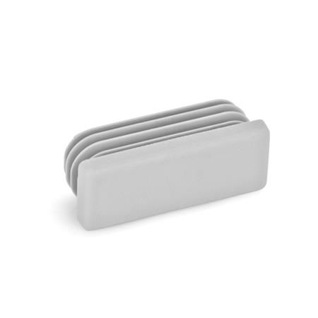 EN 991 Metric Size, Plastic Rectangular Tube End Plugs, for Construction Tubings Color: GR - Gray, RAL 7042, matte finish