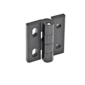 GN 235 Zinc Die-Cast Hinges, Adjustable Material: ZD - Zinc die-cast<br />Type: DH - With through holes and vertical slots<br />Finish: SW - Black, RAL 9005, textured finish