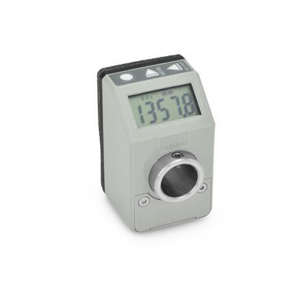 EN 9054 Indicadores de posición, de plástico tecnopolímero, electrónico, con pantalla LCD, 5 dígitos Color: GR - Gris, RAL 7035