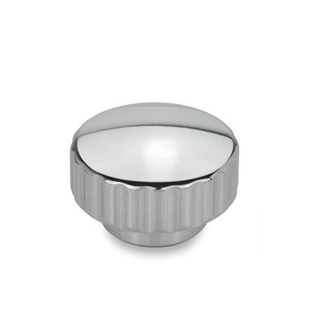 GN 536 Stainless Steel Knurled Nuts, with Tapped Blind Bore Finish: PL - Highly polished finish