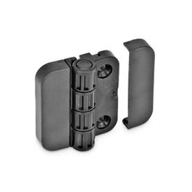EN 122.1 Technopolymer Plastic Hinges with 4 Indexing Positions Type: SH - 2x2 bores for countersunk screws