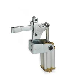 GN 862 Steel Pneumatically Toggle Clamps, with Vertical Mounting Base with Magnetic Piston Type: EPV3 - Solid bar version, with clasp