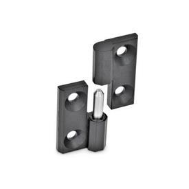 GN 337 Bisagras desmontables de zinc fundido a presión, con orificios pasantes para tornillo avellanado Material: ZD - Zinc fundido a presión<br />Acabado: SW - Negro, RAL 9005, acabado texturizado<br />Identificación núm.: 2 - (Perno) de soporte fijo izquierdo