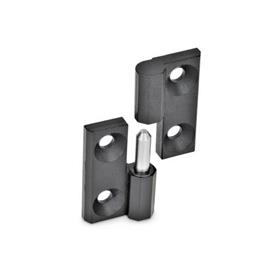 GN 337 Zinc Die-Cast Lift-Off Hinges, With Countersunk Thru Holes Material: ZD - Zinc die-cast<br />Finish: SW - Black, RAL 9005, textured finish<br />Identification no.: 2 - fixed bearing (pin) left
