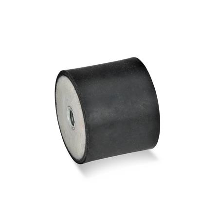 GN 351 Rubber Vibration Isolation Mounts, Cylindrical Type, with Steel Components Type: EE - With 2 tapped holes