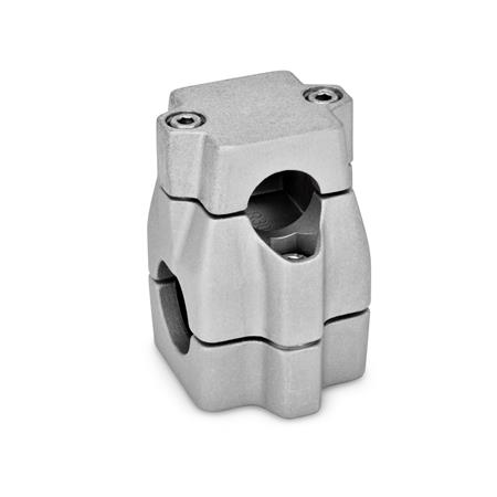 GN 135 Aluminum Two-way connector clamps, multi part assembly, unequal bore dimensions Bore d<sub>1</sub>: B 30 Finish: BL - Blank