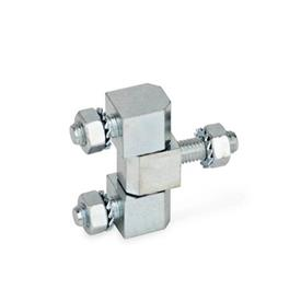 GN 129 Steel Hinges, Zinc-Plated, 2 Part Lift-Off and 3 Part Solid Type: D - consisting of three parts