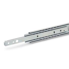 GN 1424 Steel Telescopic Slides, with Full Extension and Dampened Self-Retracting Mechanism, Load Capacity up to 169 lbf